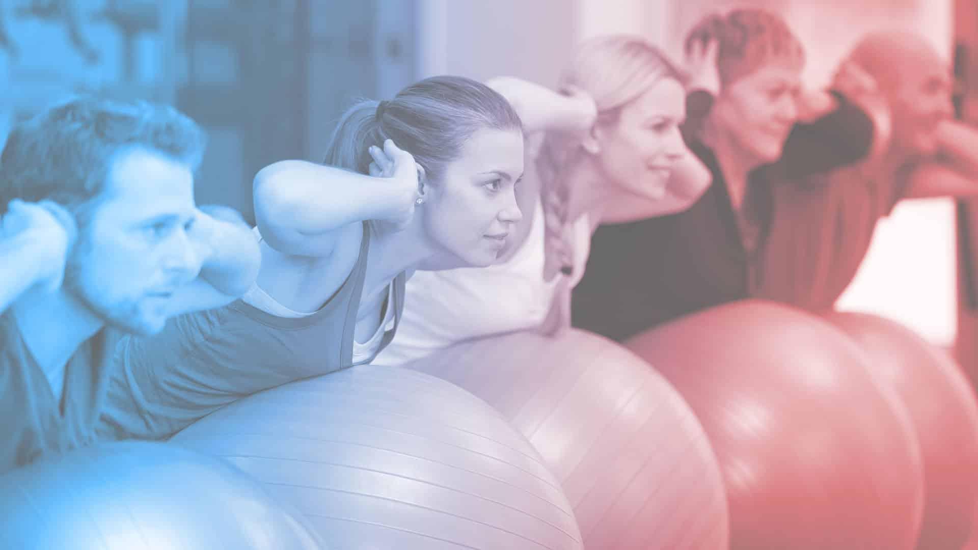 People exercising using exercise balls
